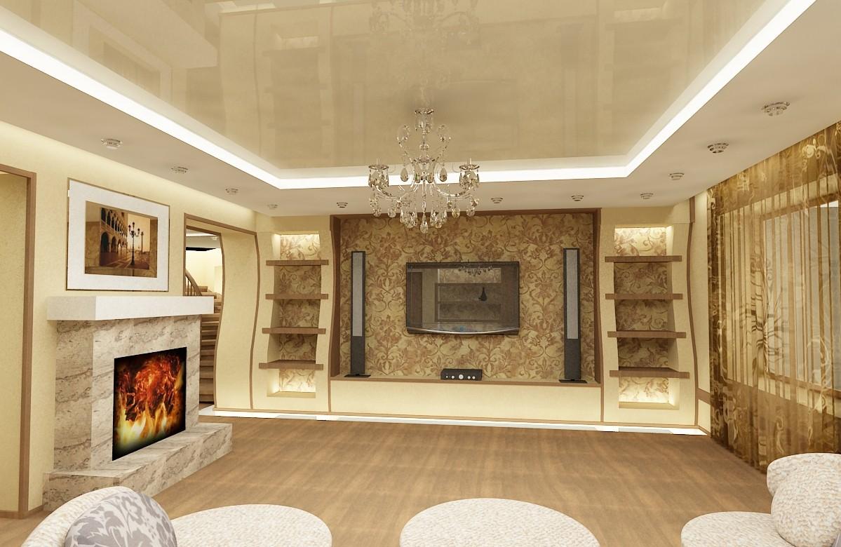 Гостиная в теплых тонах дизайн