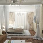 Гостиная и спальня в одной комнате.
