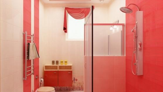 Таулетная комната в ярком красном дизайне