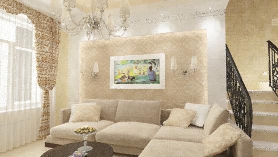 Эскиз гостиной в доме