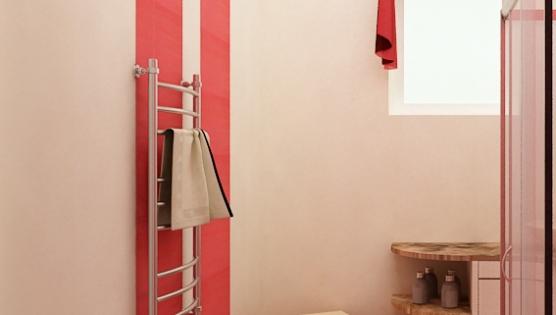Дизайн туалетной комнаты - в красных тонах