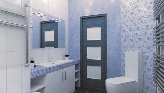 Дизайн туалетной комнаты в синих тонах