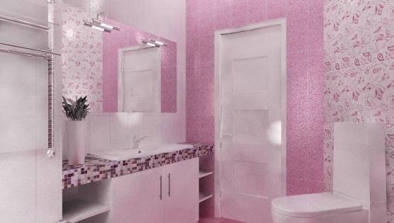 Дизайн туалетной комнаты в розовом тоне