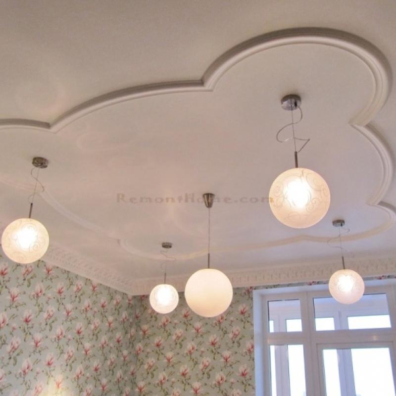 Дизайн потолка для детской комнаты девочки