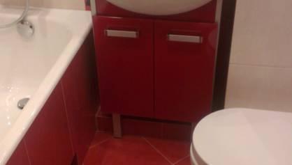 Объединённый сан. узел - красная плитка на полу и стенах