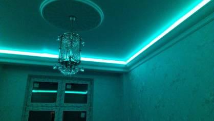 Подсветка потолка из под багета потолочного