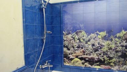 Оформление ванной плиткой с пано